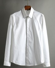 2017 Spring/summer  business collar men cotton shirts S-XL White Slim Size