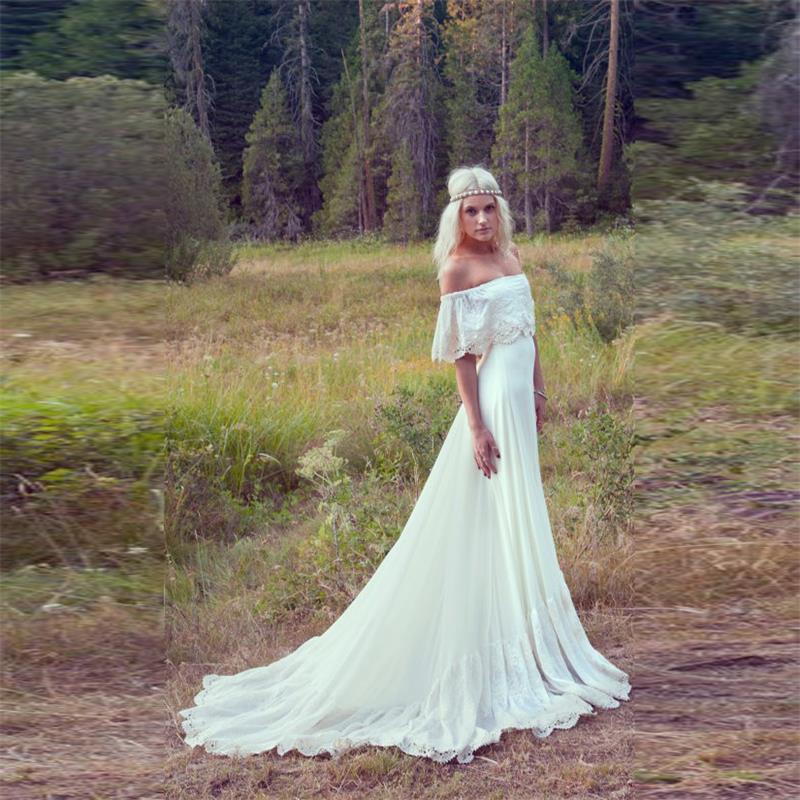 2016 Wedding Dresses Ivory Off The Shoulder Lace Edge Chiffon Beach ...