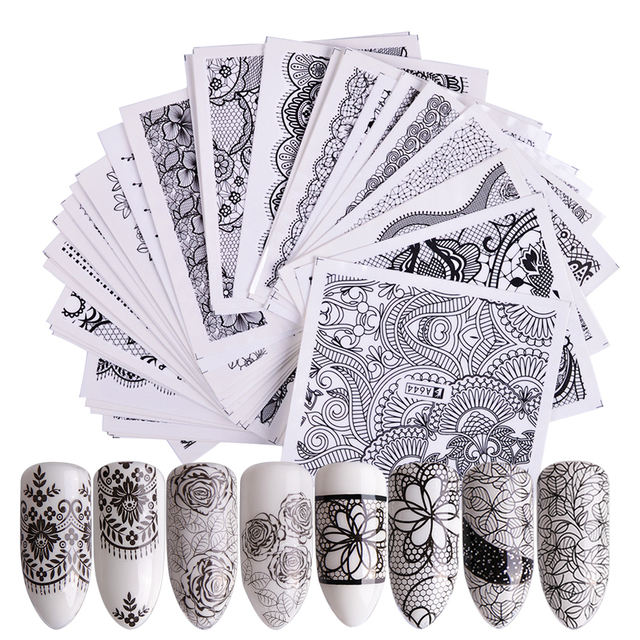 40 Sheet/lot Nail Art Water Transfer Black Flowers Stickers For Nail Lace Tips Nail Art Decorations Foil Set SAA625-672