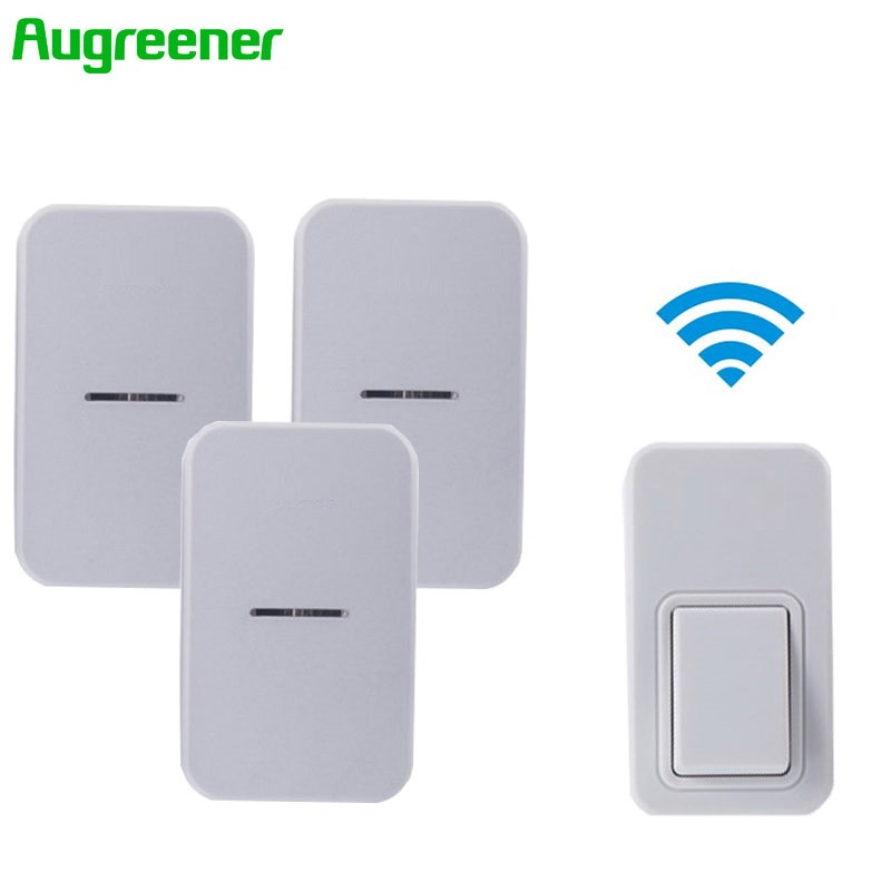 Free Shipping EU Waterproof Wireless Doorbell 220V Home Romote Electric Cordless LED Light Wireless Bell 1Transmitter+3Receivers kinetic cordless smart home doorbell 2 button and 1 chime battery free button waterproof eu us uk wireless door bell
