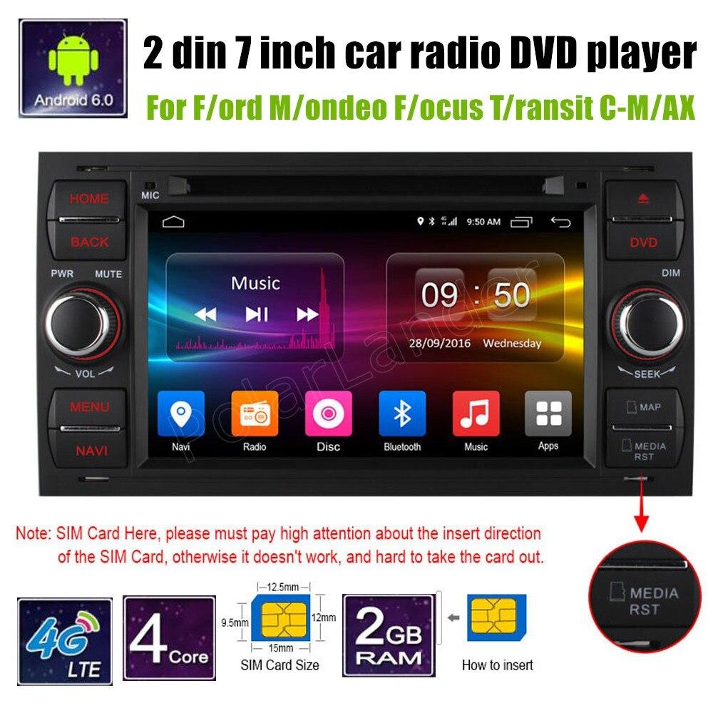 Android 6.0 Quad Core 7 ''voiture DVD GPS Navigation pour Ford Mondeo Focus Transit C-MAX 4G SIM LTE lecteur radio 2 din