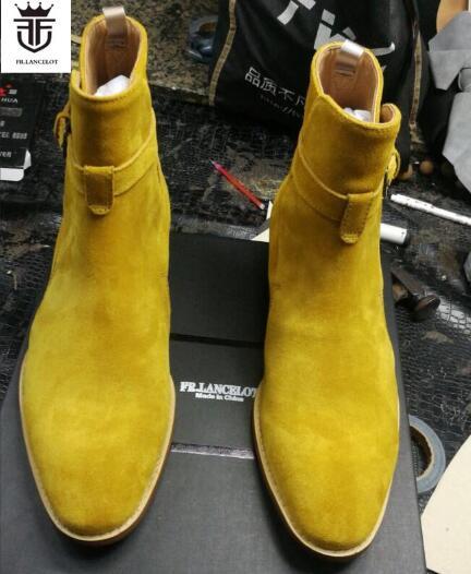 2019 Botines Hebilla Fr Hombres De Lancelot Chelsea As Medicina Zapatos Otoño Tacón Pic Gamuza Cuero Tobillo Bajo Correa Botas Los 5xxvRqw7