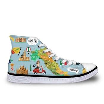 Zapatos de mujer personalizados, Top alto alemán/profesor de español con dibujo de marca, diseñador, top alto, zapatos de lona vulcanizados de ocio para mujer