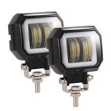 1 Or 2PCS 3 inch 6500K Offroad White Fog Light Waterproof Square LED Angel Eye light Strip Off-road Work Car Boat Truck