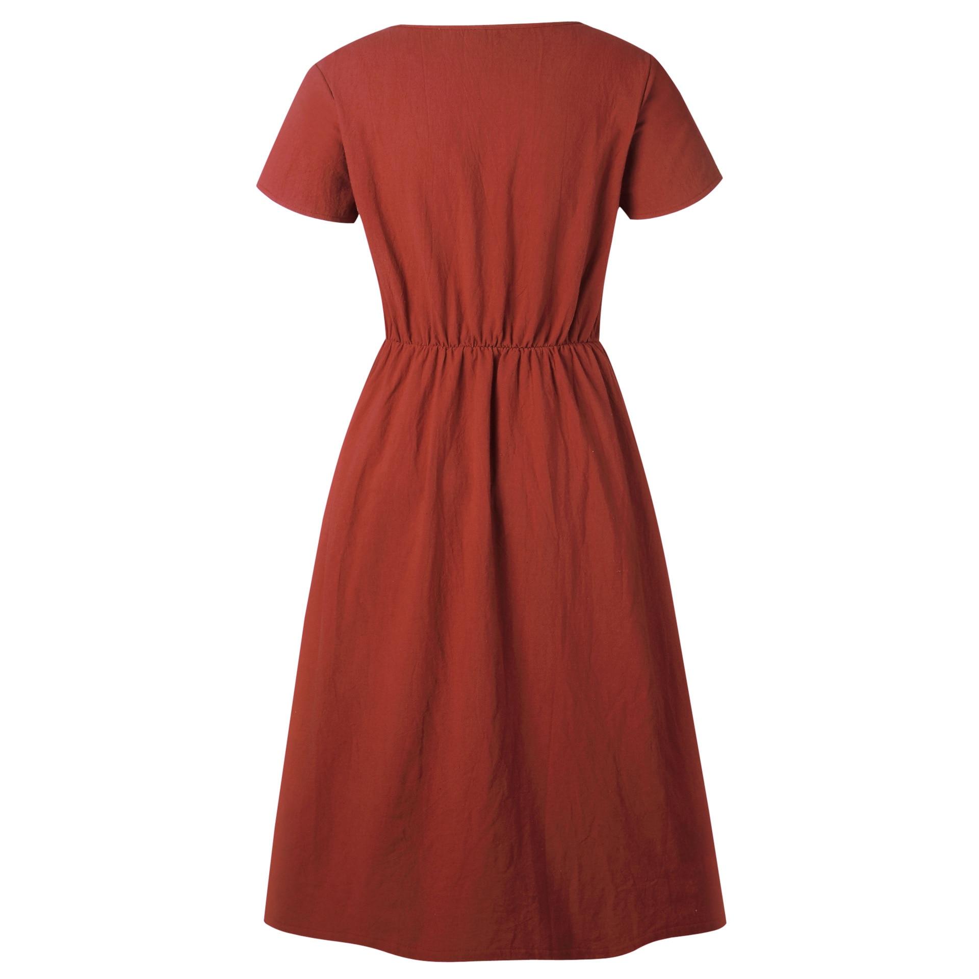 Red Blue A Line Casual Dresses Women Autumn Dress 19 Vintage Long Sleeve Dress For Ladies Buttons V Neck Midi Vestidos Female 107