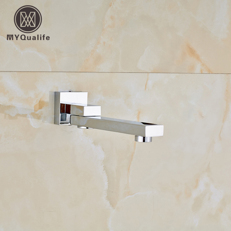 Free Shipping Wall Mount Tub Filler Chrome Brass 360 Rotation Bath Faucet Accessory Tub Spout