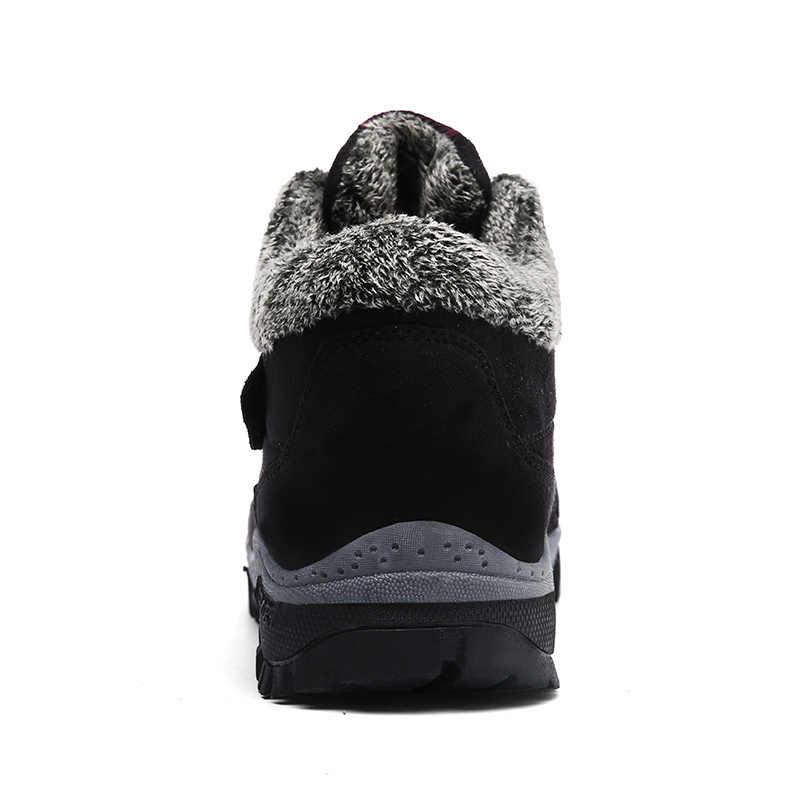 Кожаные мужские ботинки на меху; коллекция 2019 года; теплые зимние ботинки; Мужская зимняя повседневная обувь для работы; кроссовки; высокие резиновые ботильоны; JKPUDUN
