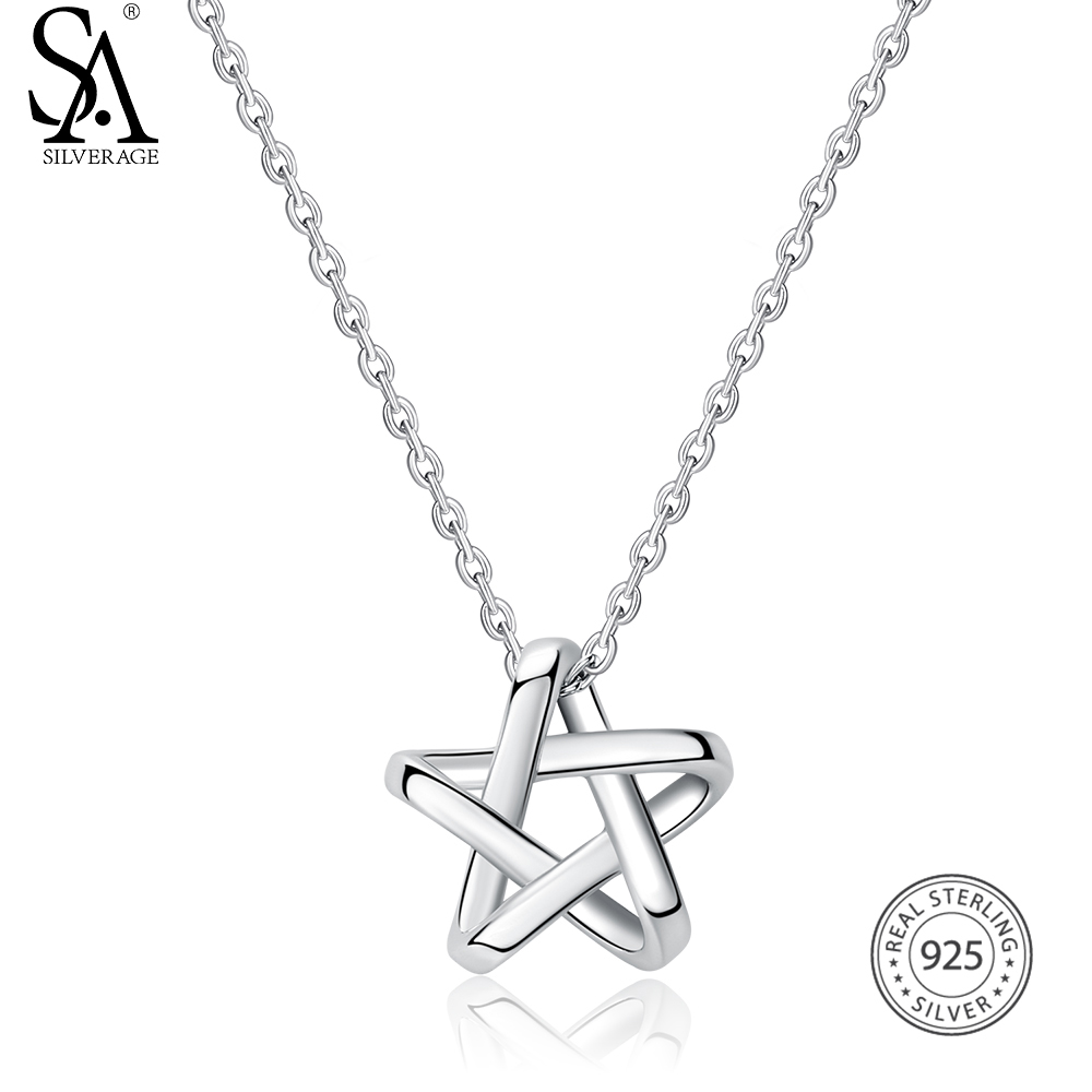 SA SILVERAGE Real 925 Sterling Silver Long Necklaces Pendants Fine Jewelry Star 925 Sterling-Silver Maxi Pendant Necklace Women sa silverage real 925 sterling silver crystal key necklaces pendants for women silver chain pendant necklaces wedding gifts