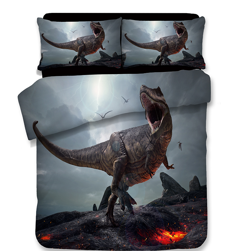 3D Quilt Cover Pillowcase Kids Bedroom cartoon style Twin Full Queen King Bedding sets 3D Dinosaur
