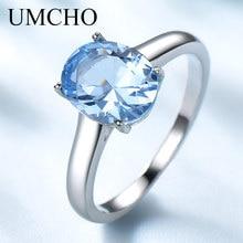 UMCHO 925 anillos de plata esterlina auténtico de Topacio azul para mujer, anillo de compromiso de piedras preciosas, piedra de nacimiento, joyería elegante romántico