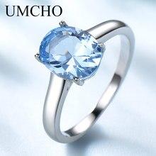 UMCHO حقيقية 925 فضة خواتم للنساء الأزرق توباز الأحجار الكريمة المشاركة خاتم الزفاف جوهرة الميلاد رومانسية غرامة مجوهرات