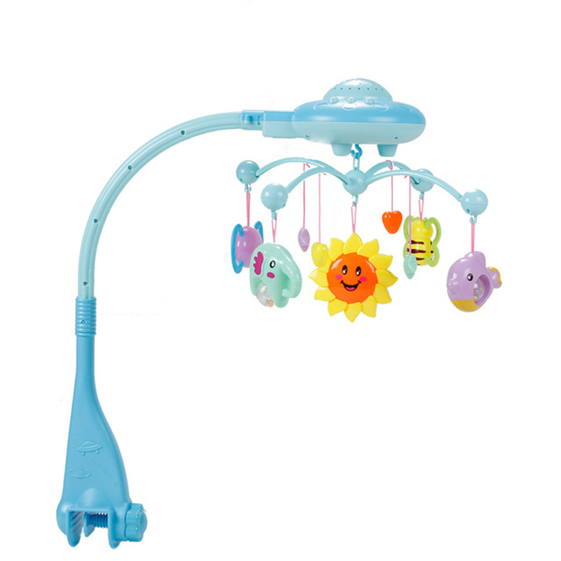 Baby Musical Crib Mobile Bed Bell Toys Hanging Rattles Newborn Infant Starry Flashing Projection Rotating Toy Holder Bracket infant toys plush bed wind chimes crib hanging bells mechanical music box mobile bed bell toy holder