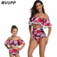 family matching swimwear mommy and me clothes for mother daughter swimsuit look mom mum baby girl floral vintage bikini outfits