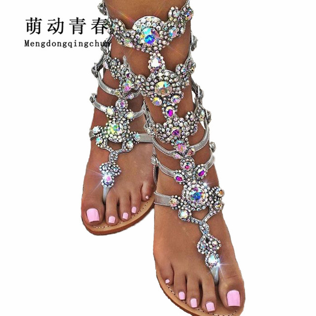 2018 Hot Women Flat Heels Sandals Gladiator Crystal Rhinestone Flip Flop  Mid-calf Thong Sandals Women Fashion Back Strap Shoes