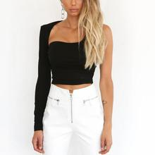 2019 Hot Sexy One Sleeve Cotton Solid Crop Tops Women Casual Shoulder Backless T Shirts Elegant Stretchy Black Outfits Tees