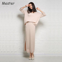 Women Elegant Casual Loose Cashmere Crop Top And Skirt Set Solid V Neck Oversized Sweater Tops