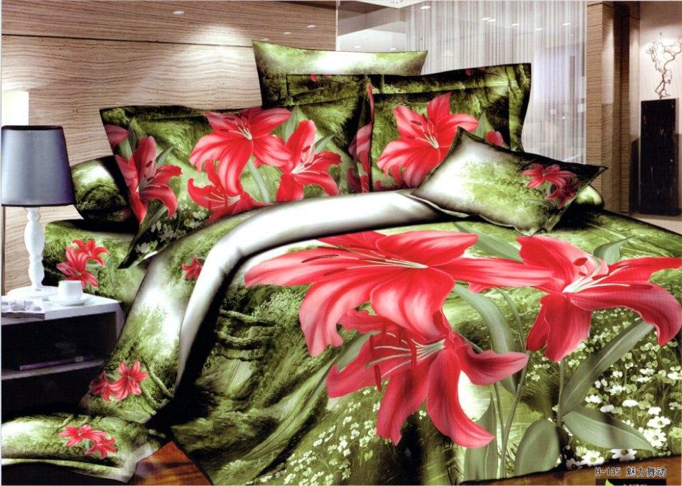 3d Green Red Floral Flower Bedding Comforter Set King