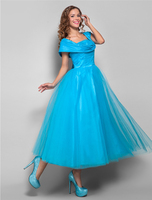 TS Couture Ball Gown Straps Tea Length Tulle Cocktail Party Homecoming Prom Holiday Dress with Ruching