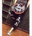 Весна осень мужчины в прорезиненная тесьма крестики - брюки брюки череп принт шаровары / 27 - 32