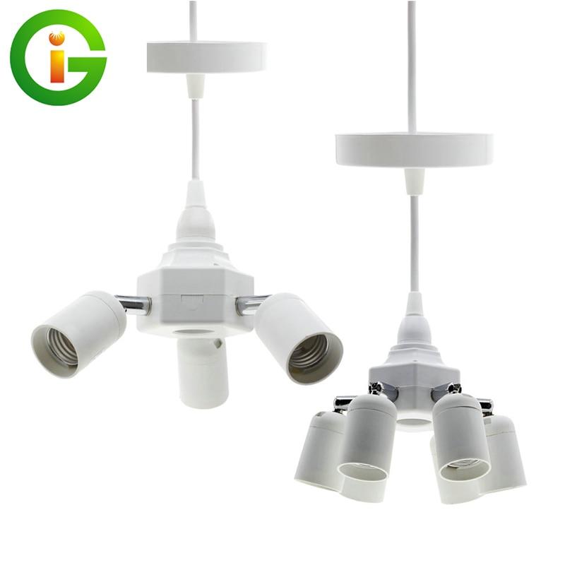Grow Light E27 Lamp Holder Converters 4  E27 / 7 E27 Lamp Base Holder For Hoisted Grow LED Bulb Light.