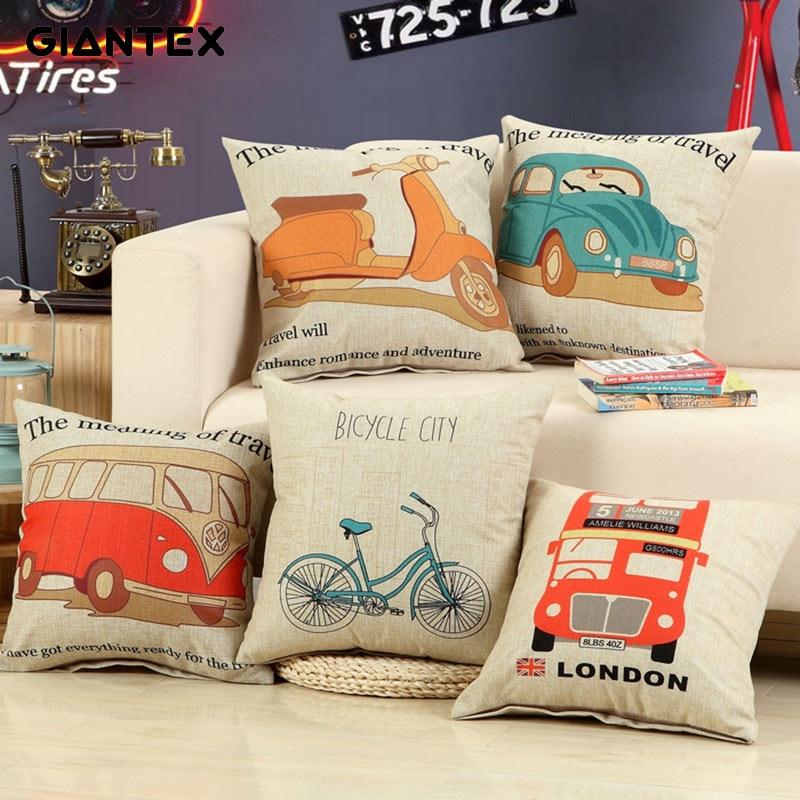 FLC Transportation Linen Cushion Cover Decorative Pillowcase Home Decor Sofa Throw Pillow Cover 45x45cm 30