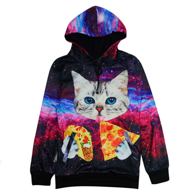 Harajuku Style Men s Hooded Sweatshirts Galaxy Cat Licking Pizza Print 3D  Hoodie Homme Pullover Outfits Fashion Tracksuit 12f056a53eda