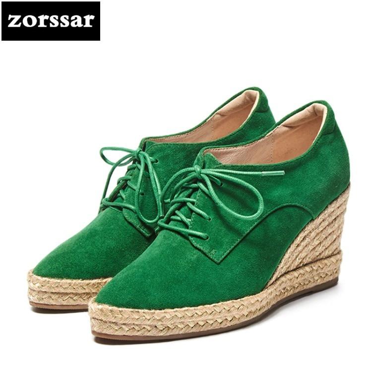 2018 Negro Casual Zapatos {zorssar} Bombas verde Mujer Moda Cuñas De Nueva Gamuza Punta Tacones 6qdFwdfp7
