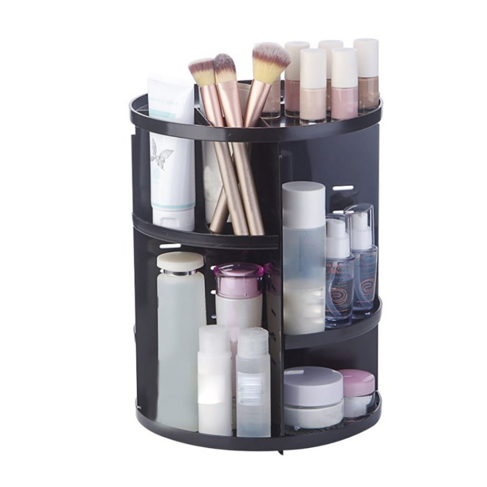 360-degree Rotating Adjustable Cosmetic Storage Rack Desktop Makeup Brushes Tools Jewelry Holder Shelf Home Organizer Case
