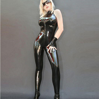 free shipping new Black Catwoman False Leather Wetlook Jumpsuit Catsuit sleeveless sexy women leather jumpsuit costume S 2XL