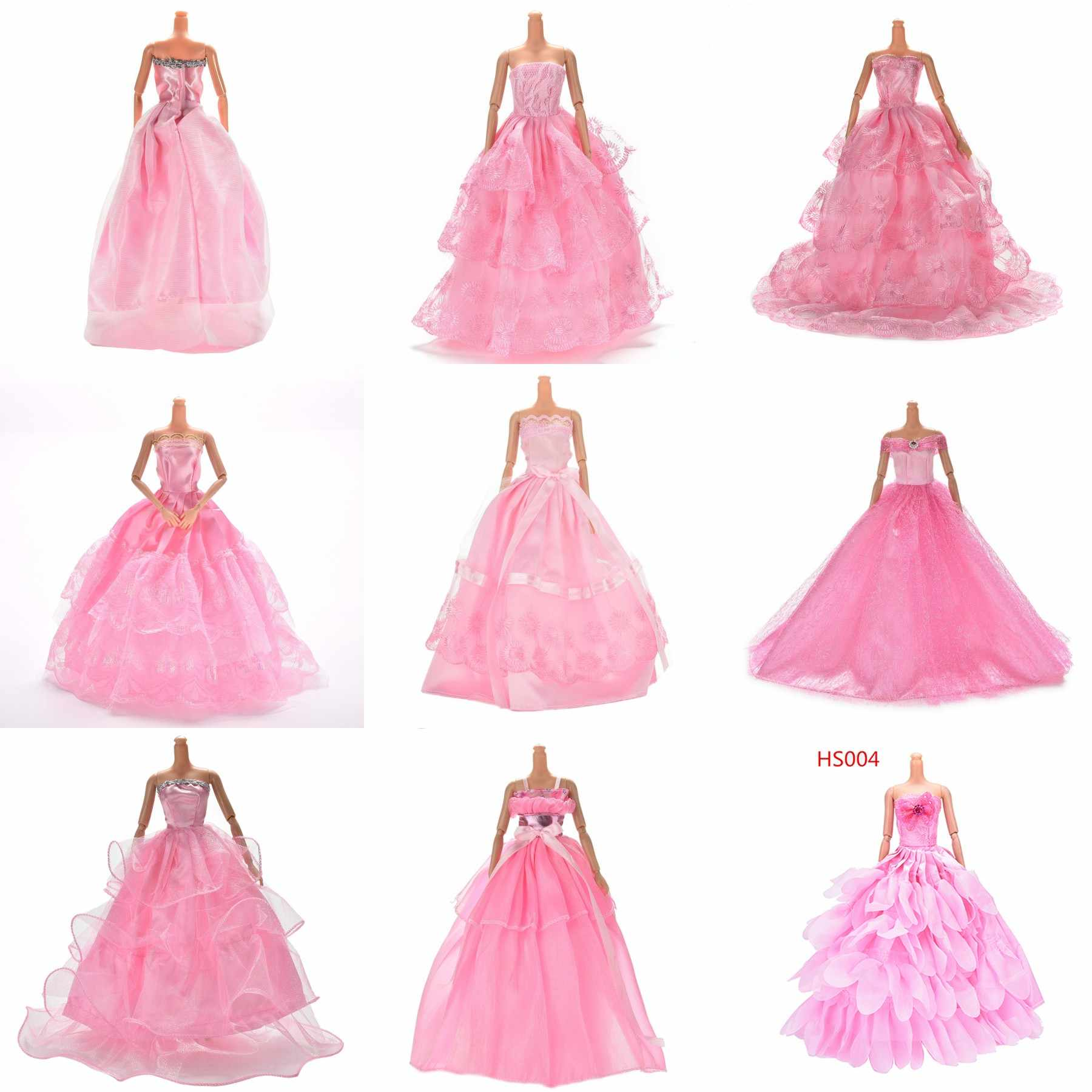1PCS Pink Color Handmade Doll Long Dress Clothes Evening Wedding Dress Party Dress For Girl Doll Accessories