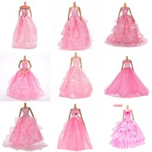 1PCS Pink Color Handmade Doll Long Dress Clothes Evening Wedding Dress Party Dress For Girl Doll Accessories(China)