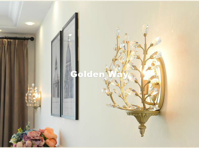 Modern Nordic Vintage Crystal Wall Lamp Modern European Luxury Crystal Lights Bedroom Restaurant Aisle Creative Retro Lighting