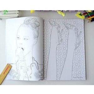 Image 4 - Fashion Girl coloring book for adults antistress Relieve Stress Graffiti Painting Drawing books libros de pintar para adultos