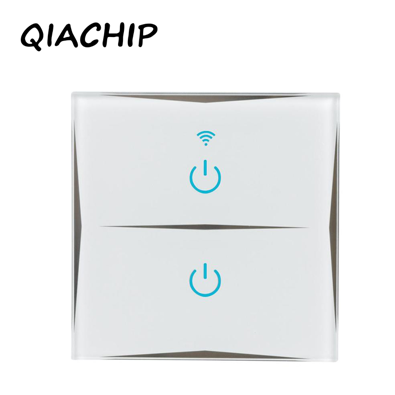 QIACHIP Remote Control Switch 2 Gang 1 Way UK EU Smart Wall Touch Switch+LED Indicator Crystal Glass Switch Panel Smart Home wallpad smart home switch 110 250v uk 1 gang 2 way pink tempered glass led indicator wall touch switch free shipping