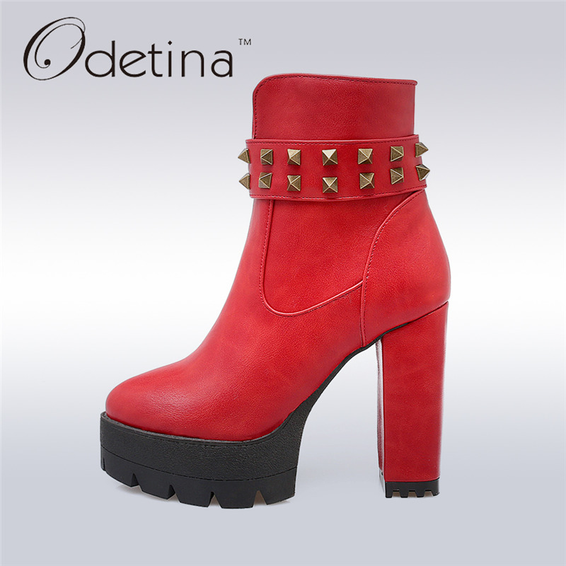 ФОТО Odetina 2017 Women Platform Ankle Boots Side Zipper Thick Heels Motorcycle Boots Vintage Rivets High Square Heels Shoes 33-43
