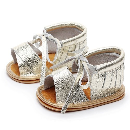 Fashion fringe summer New style Genuine Leather Hollow Lace up baby sandals Hard sole kids shoes baby sandals for girls and boys