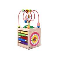 Wooden Bead Maze Activity Center Box Multi function Round Beads Box Cube Wood Toys Unisex Kids Multipurpose Educational Toy