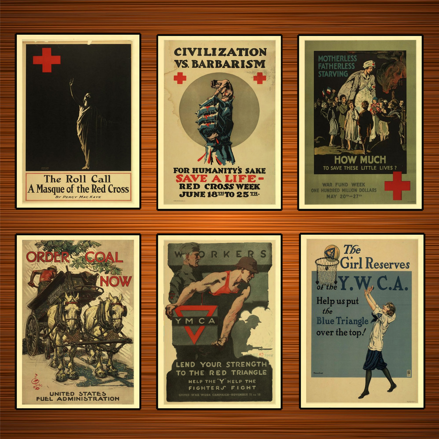 Vintage 1910s USA WW1 Propaganda Poster Civilization Vs. Barbarism Classic Canvas Paintings Wall Stickers Home Decor Gift image