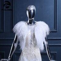 Роскошные белые Страусиные перо Свадебные обертывания накидка свадебные куртки Женская мода шали брак Свадебная накидка Болеро