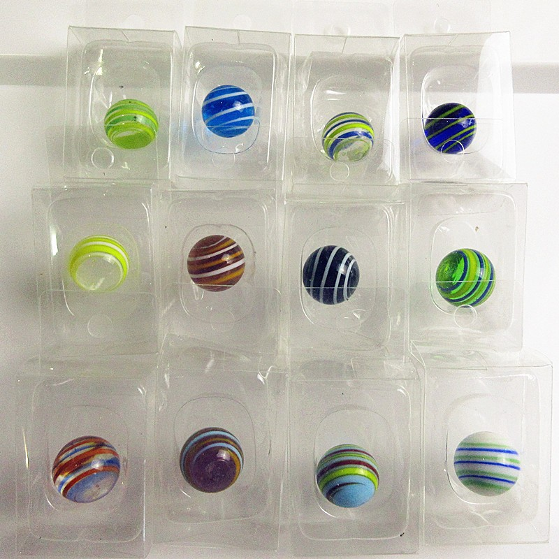 12pcs Wholesale Striped Hand Made Glass Marbles Ball Model Small Fairy Garden Decoration Charms Children Puzzle Game Toys