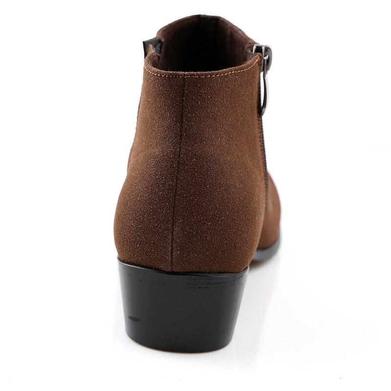 Talons Style Bout Oxford La Homme Britannique Cheville Pointu Chaussures brown Éclair Suède Black Fermeture De Bas Bottes Sx3 En Hommes À Cuir Martin Mâle Chaussure YZ8U48O