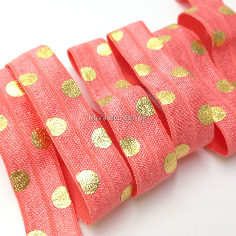 5/8 Polka Dot Coral Fold Over Elastic Gold Foil Dot Print FOE High Quality Foldover Elastic Ribbon for Hair Accessories 10Y/Lot 8 colors 5 8 fold over elastic black with metallic gold diamond 50yards per lot