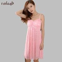 Fdfklak Sexy Lace Spaghetti Strap Tulle Underwear Nightwear Sleepwear 2017 New Summer Women's Nightgown Slim Nightgowns E0914