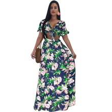 Women Floral Print Long Beach Dress Swimwear 2018 Plus Size Cover Up Swimsuit Sexy Bow Tie Beachwear Dress Two Piece Swimsuit navy random floral print self tie at sleeves mini dress