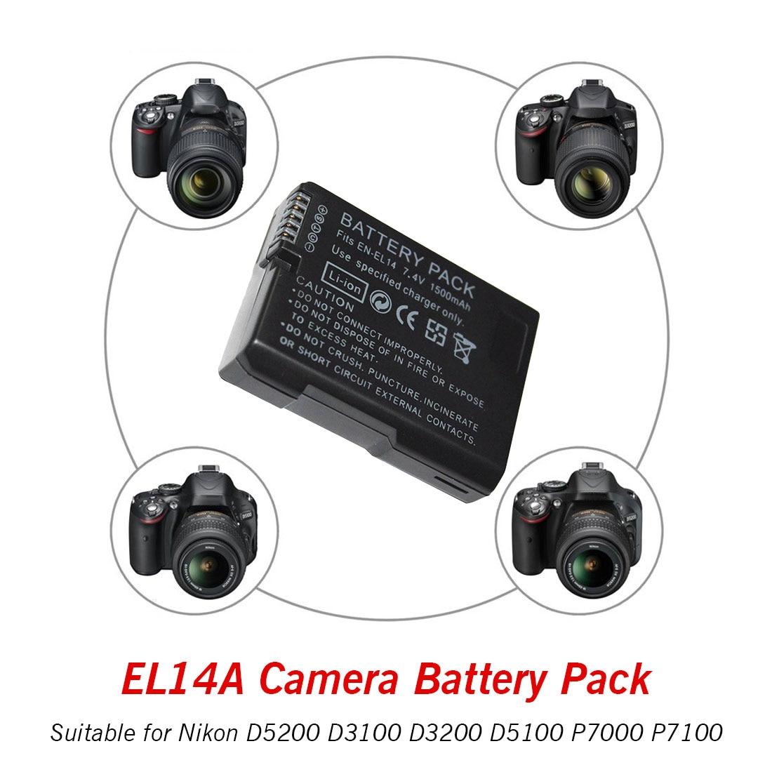 Rechargeable Digital Battery Pack EN-EL14 EN-EL14a ENEL14 EL14 1500mAh For Nikon D5200 D3100 D3200 D5100 P7000 P7100 MH-24