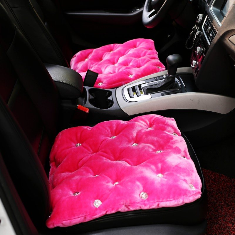 Winter Crystal Studded Rhinestone Car Seat Cushion For Woman and Girls Car Front Seat Cover Universal Auto Back Seat Cushion
