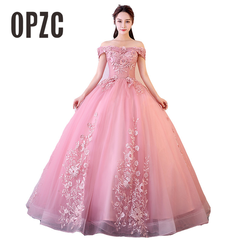 2019 Hot New Arrival Boat Neck Beautiful And Comfortable Eveninng Dress With Vivid Flowers For Show Wedding Party And Portrait