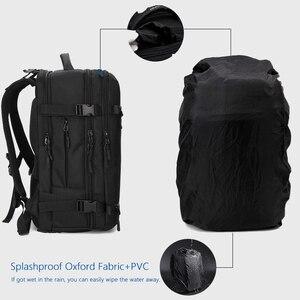 """Image 5 - OZUKO 15 """"17"""" 노트북 배낭을위한 새로운 남성 배낭 발수 다기능 가방 USB 충전 여행 배낭 대형 Mochila"""