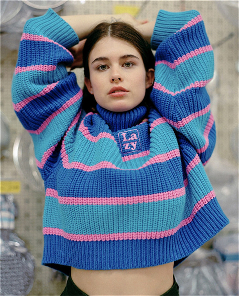 UNIF Womens Striped Roll Neck Jumper Runway sweater with Embroidered Letter Lazy Turtleneck Oversized Chunky Knit Pullovers