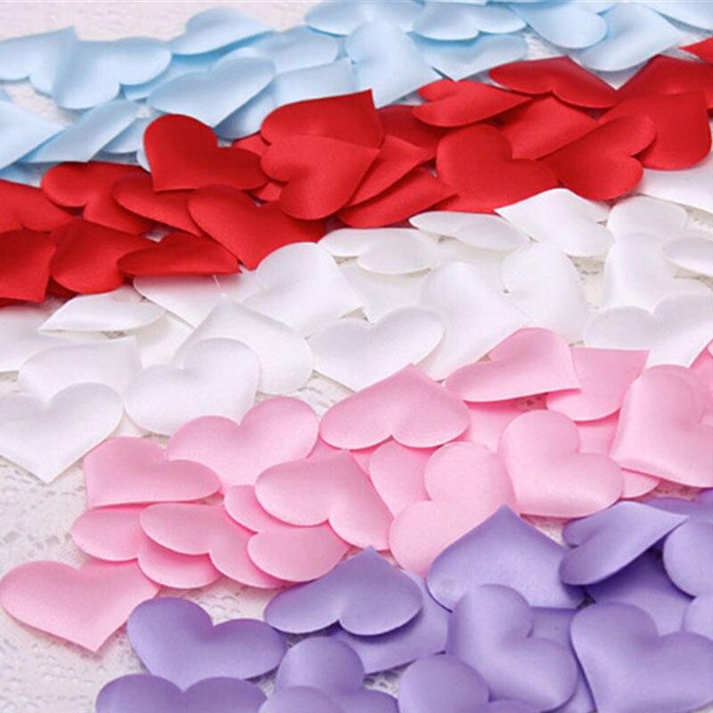 100 unids Tela Amor Corazón 1.4 cm Wedding Party Confetti Scatters Tabla Decorac
